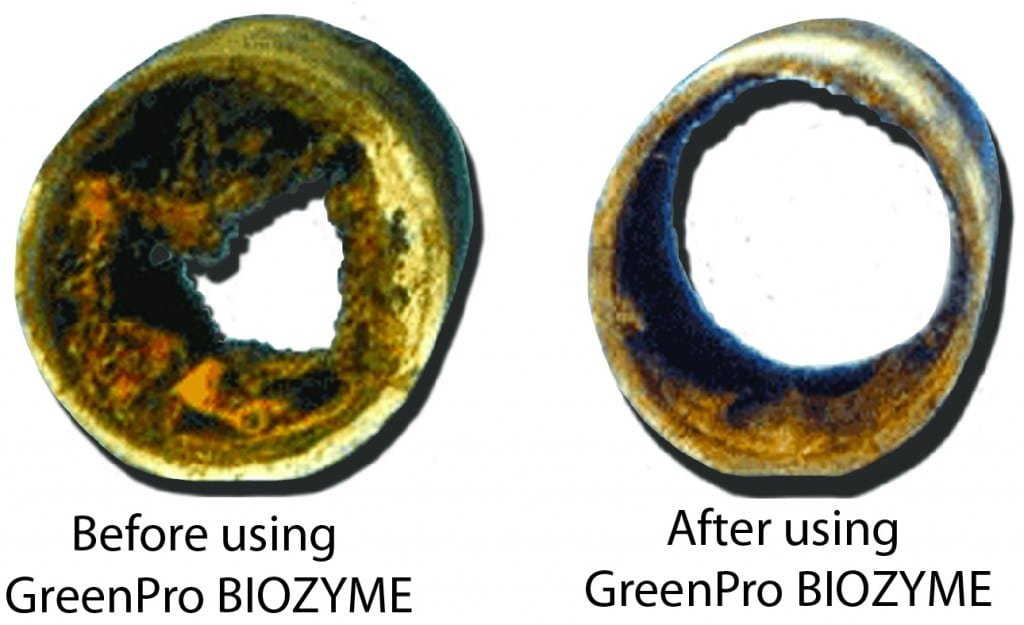 A commercial kitchen's drainpipe before and after treatment with GREEN PRO Biozyme